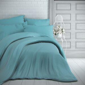 Kvalitex Saténové obliečky Stripe tyrkysová, 240 x 220 cm, 2 ks 70 x 90 cm
