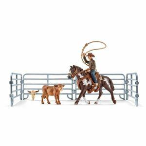 Schleich Kovboj s lasom na koni a príslušenstvo