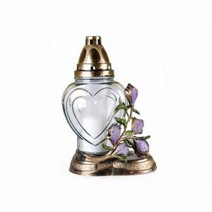 Sklenená lampa s plastický dekorom Magnolia, zlatá