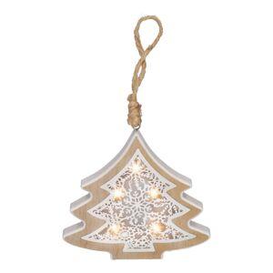 Solight 1V45-T LED vánoční stromek, dřevěný dekor, 6LED, teplá bílá, 2x AAA