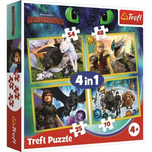 Trefl Jak vycvičit draka 4v1 35,48,54,70 dielov puzzle