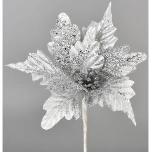 Umelá Poinsettia strieborná, 25 cm