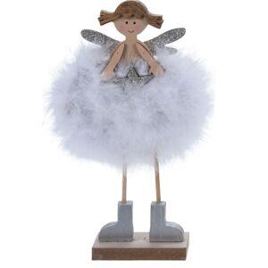Vianočná dekorácia Anjelik Leticia, biela