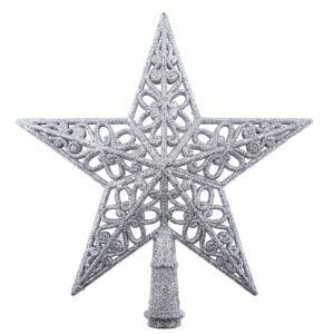 Vianočná hviezda na stromček Shiny strieborná, 20 x 20  x 3 cm