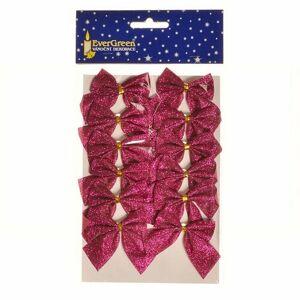 Vianočná ozdoba Mašľa glitter 12 ks, ružová, 5,5 cm