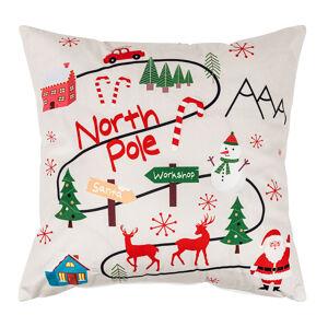 Domarex Vianočná svietiaca obliečka na vankúšik s LED svetielkami North Pole, 45 x 45 cm