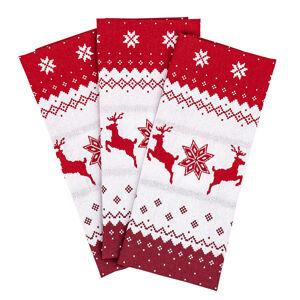 Trade Concept Vianočné utierky Sobík červená, 50 x 70 cm, sada 3 ks