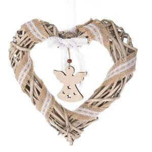 Vianočné závesné srdce s anjelom, 30 x 30 cm, prírodná
