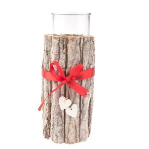Vianočný drevený svietnik so sklom, 12 x 25 cm