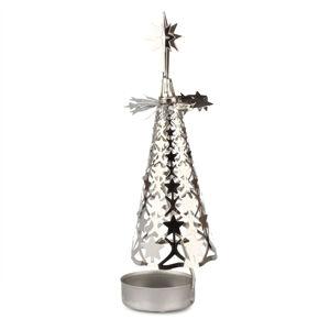Vianočný kovový svietnik Stromček, strieborná
