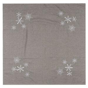 BO-MA Trading  Vianočný obrus Vločky sivá, 85 x 85 cm, 85 x 85 cm