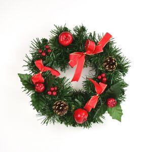 Vianočný venček s červenou mašľou Cora, 25 cm