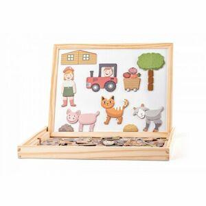 Woody Magnetická obojstranná tabuľka so zvieratkami, 33 x 25 x 3,2 cm